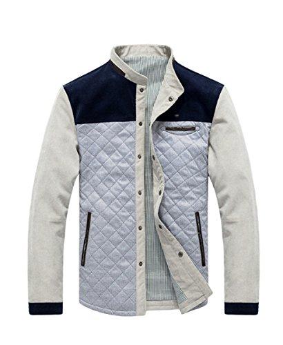 Qiyun Herren Winter Warm Gepolsterte Slim Fit Cord Patchwork Lässig Uni Mantel Jacke