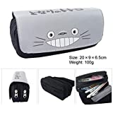 EOLIURR 1 Pcs Newest Grey Totoro Large Big Capacity Canvas Double Zipper Anime Cartoon Animal Pen Bag Pencil Case Game Cosmetic Makeup Pouch Stationery Office School Supplies Holder Set (Color: Grey, Tamaño: 20*9*6.5cm)