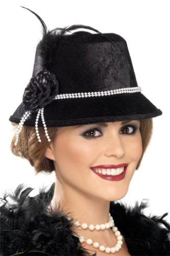 Smiffy's 1920s Hat With Beads And Flower, Black/White, One Size - 1