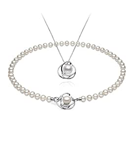 Celebrity Jewellery Ladies Classical Necklace 10mm Pearl Pendant Platinum Plating Silver Chain