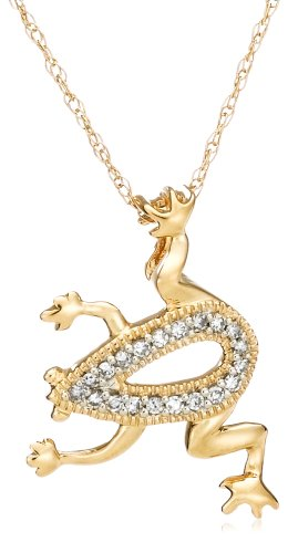 "14k Yellow Gold ""Jewels of Nature"" Diamond Frog Pendant (.07 cttw, G-H Color, I1 Clarity)"