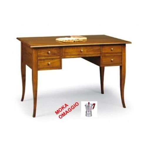 CLASSICO scrivania scrittoio 5 cassetti piano in legno per studio e sala 110 130x65x81
