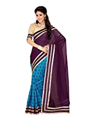 Ambitions Fashion Women's Azure Blue And Eggplant Raw Silk Lace Saree