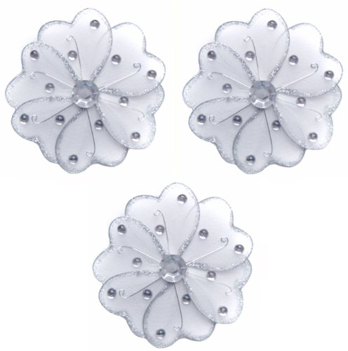 """Flower Decor 4"""" White Mini (X-Small) Wire Hanging Flowers Daisy Daisies 3Pc Set. Decorate Baby Nursery Bedroom, Girls Room Ceiling Wall Decor, Wedding Birthday Party, Bridal Baby Shower, Bathroom. Decoration For Crafts, Scrapbooks, Invitations, Parties front-954521"""
