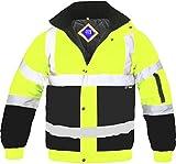 Veste blouson pour hommes haute visibilité deux tons bandes réfléchissantes étanche imperméable matelassé sécurité travail capuche EN471 - Jaune/Bleu marine, XXL