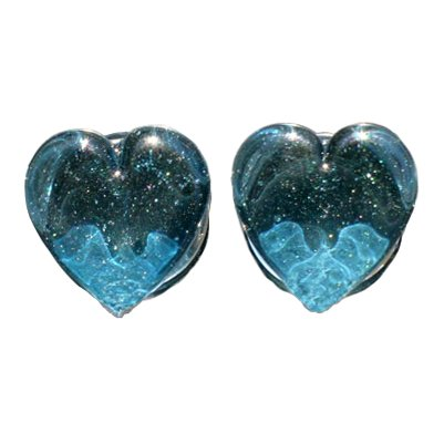 Translucent Sparkle Blue 1 Sided Heart Shaped, 1 Sided Round Shaped Glass Plugs, Doubled Flared -9/16