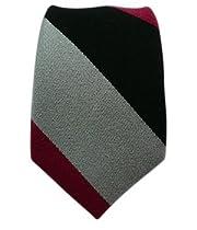 Striped Wool Black/Red/Gray Striped Skinny Tie