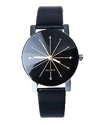 Blinx - Designer Unisex Fashion Leisure Casual BLK pu faux leather crystal cut dial Smart wrist watch - Black Burst