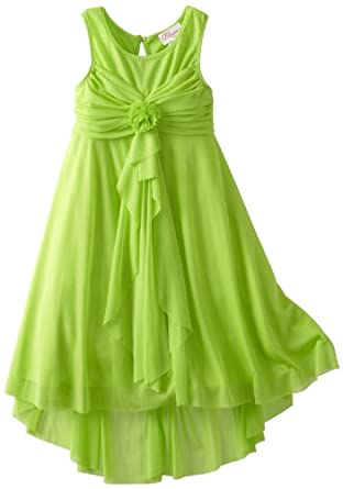 Bloome Girls 7-16 Sleeveless Asymmetric Hem Dress, Green, 14