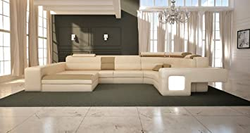 1004B Modern Beige Leather Sectional Sofa
