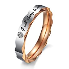 "buy Women - Size 8 - Konov Stainless Steel Love ""I Will Always Be With You"" Couples Promise Ring Mens Womens Wedding Bands"