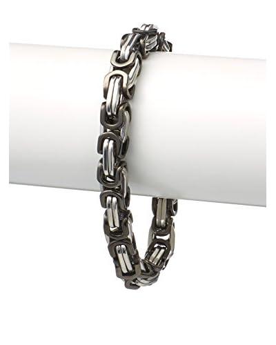 """Stephen Oliver Silver and Black Link Chain Bracelet, APP 8.5"""""""