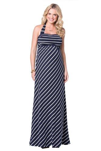 Ingrid And Isabel Women'S Stripe Convertible Maternity Maxi Dress, Navy/Cream, Medium front-720436