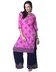 Utsav Fashion Women's Fuchsia Cotton Readymade Kameez With Palazzo-XXX-Large