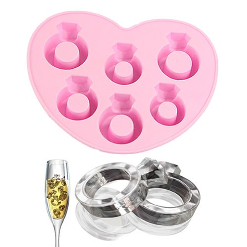 Estone Ring Freeze Party Drink Ice Mould Jelly Chocolate Mold Maker Ice Cube Tray (Pink) front-118111
