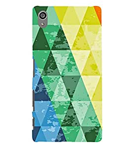 Colourful Triangular Pattern 3D Hard Polycarbonate Designer Back Case Cover for Sony Xperia Z5 Premium (5.5 Inches) :: Sony Xperia Z5 Premium Dual