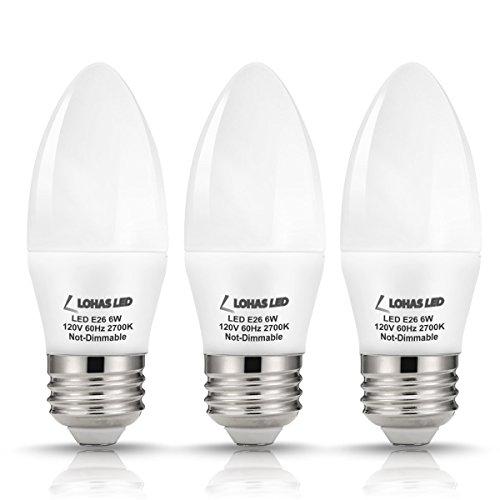 LOHAS® 6watt LED Candle Light Bulb E26 Base, 60W Equivalent, Warm White 2700k