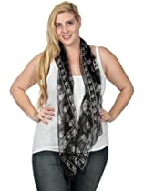 Simplicity Long Cool Skull Pattern Womens Black Scarf Shawl