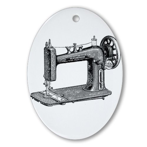 CafePress - Vintage Sewing Machine Oval Ornament - Oval Holiday Christmas Ornament (Quilting Sewing Maching compare prices)