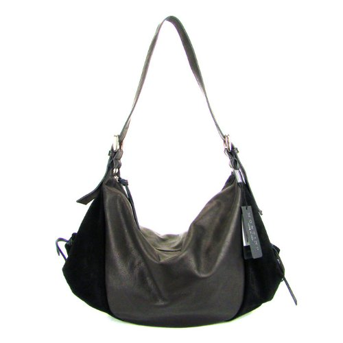 MONTINI Italian Black Leather Large Hobo Crossbody Shoulder Bag