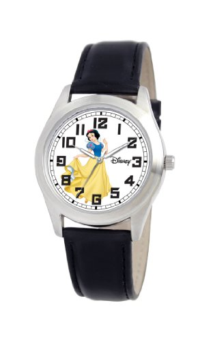 Disney Women's D160S006 Snow White Black Leather Strap Watch