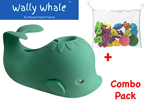 bathtub-spout-cover-kid-safe-bath-toy-organizer-bag-wally-whalecombo-gift-set