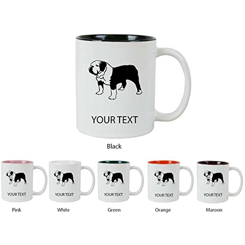 Personalized Custom English Bulldog 11 oz White Ceramic Coffee Mug with FREE White Gift Box for Holiday Gift or Present! Contact USA Seller for Text/Color or Leave a Gift Message at Checkout! (Bulldog Mug compare prices)
