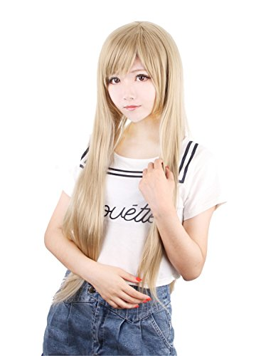 """Taobao Building Blast Of Tempest - Fuwa Aika Long Straight Japanese Anime Cosplay Costume Party Hair Wig 32"""" 80Cm (Flaxen)"""