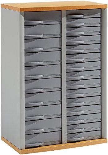 Rexel-2100800-Stratis-Schrank-2-Reihen-25-Schubladen-silbergrau