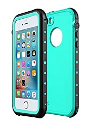 Sunwukin Waterproof Case for iPhone SE IP68 Shockproof Snowproof Dirtpoof Dustproof Protector Cover for iPhone 5s/iPhone 5 (Teal/Grass Blue)