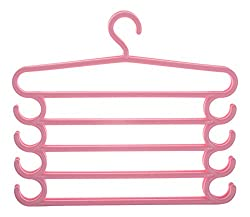 HOME CUBE Pants Hangers Holders For Trousers Towels Clothes Apparel Hangers Five-layer Space Saving with hook Set of 2 - Pink