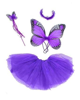 Amazon.com: Girls Purple 4pc Monarch Butterfly Costume