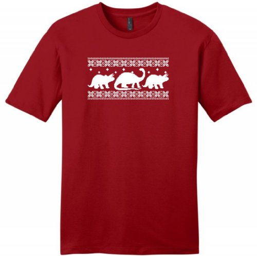 Dinosaur Pattern Faux Ugly Christmas Sweater Young Mens T-Shirt Large Classic Red