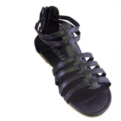 Fashion Black Flats Sandals Womens Shoes US09