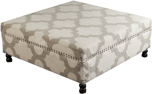 Surya FL1009-404016 Ottoman, 40 by 40 by 16-Inch, Ivory/Light Gray