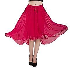 ISHIN Georgette Solid Pink Mudium length Skirt