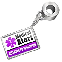 "Neonblond Bead/Charm Medical Alert Purple ""Only gluten Free Allergy Safe"" - Fits Pandora Bracelet by NEONBLOND Jewelry & Accessories"