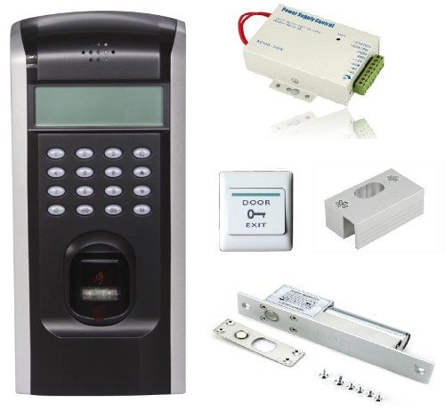 Special Deals! Bio Fingerprint Time Attendance And Door Access Control System Kit Power Supply+Electric Bolt Lock+Exit Button For Glass Gates