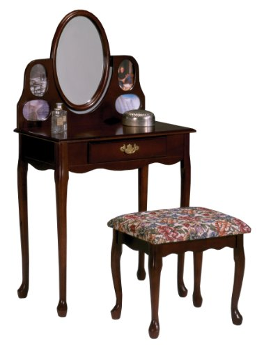Bernards Cherry Picture Frame Vanity And Bench Furniture