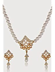 Estelle Gold Plated Necklace Set With Crystals And Pearl For Women - B00NAX025W