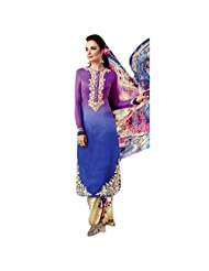 Fabefy Purple And Blue Cotton Satin Party Wear Salwar Kameez