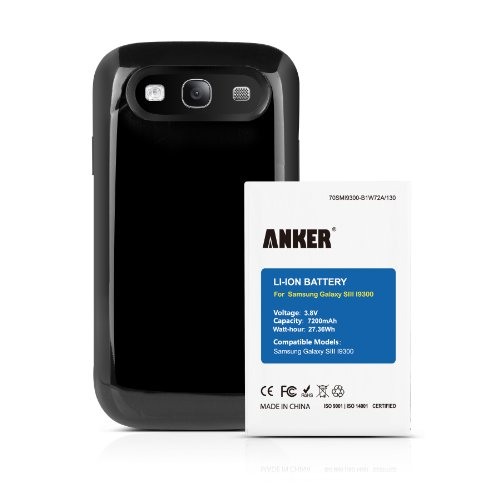 Anker® 7200Mah Extended Battery Combo For Samsung Galaxy S3, I9300, I9305 Lte, At&T I747, Verizon I535, T-Mobile T999, Sprint L710, U.S. Cellular R530 - Tpu Back Cover Included [18-Month Warranty]