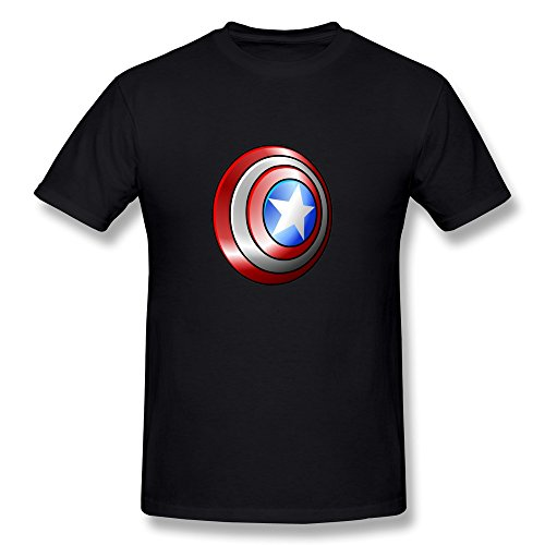 PCY Men's Customized Captain America Shield Trendy Tee Black