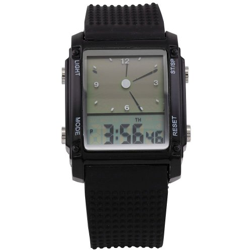 AMPM24 Dual Core Analog Lcd Date Led Multi-Color Backlight Mens Black Silicone Watch