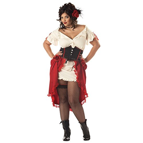 GSG Saloon Girl Costume Adult Womens Western Halloween Fancy Dress (Wild West Saloon Girl Costume)