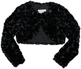 Little Girls Black Rosette-Swirl Faux Fur Bolero Jacket