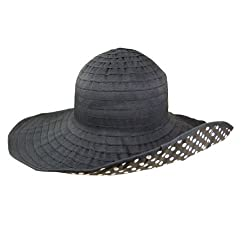 Women's Large Brim Black Packable Sun Hat with Polka Dot Lining