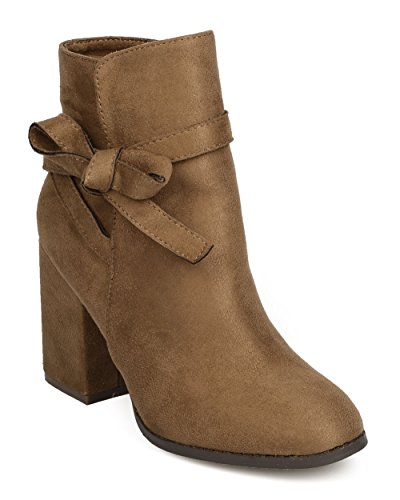 FE13 Women Faux Suede Bow Tie Chunky Heel Ankle Boot - Taupe (Size: 9.0) (Brown Boots With Ties compare prices)