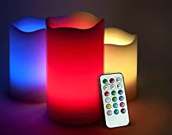 LED Candle Flame-less Multicolor Candles Remote Set of 3 Diwali Christmas Lights