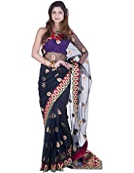 Exotic India Black Bridal Sari With All-Over Ari Embroidered Paisleys An - Black